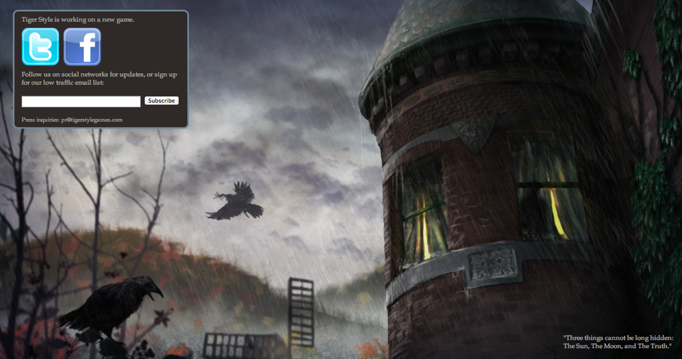 Tiger Style Teases Its New Game Using Curious 'Blackbird Estate' Website