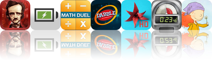 Today's Apps Gone Free: iPoe, Life Charge, Math Duel And More