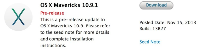 Apple Launches OS X Mavericks 10.9.1 For Registered Developers
