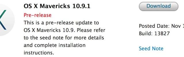 Apple Launches OS X Mavericks 10.9.1 For Registered Developers