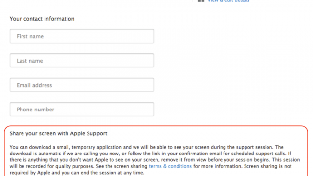 Apple Support Website Updated: Now Allows Users To Initiate Screen Sharing