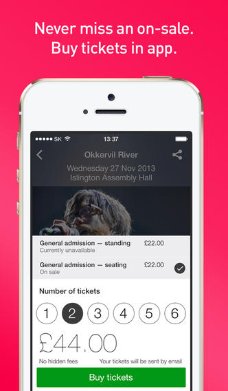 Songkick Concerts 3.0 Features iOS 7 Redesign, In-App Ticket Purchasing And More