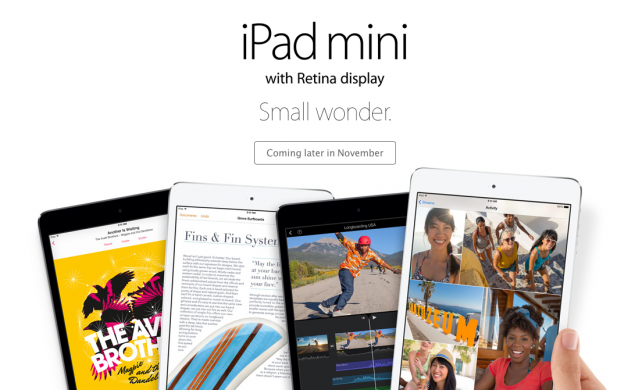 Apple Reportedly Set To Launch iPad mini With Retina Display On Nov. 12
