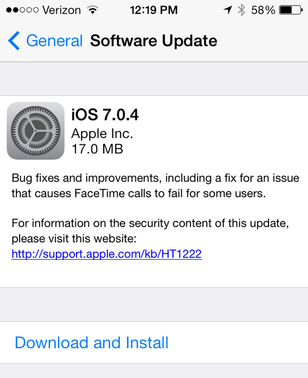 Apple Releases iOS 7.0.4 To The Public