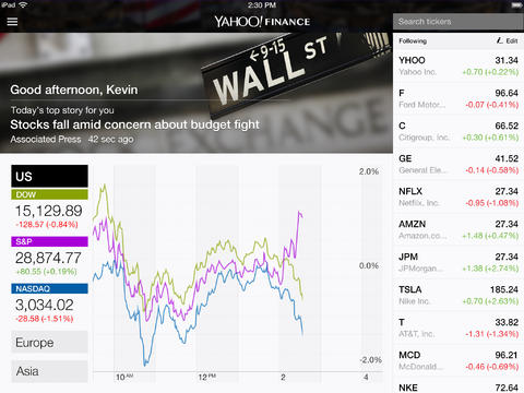 Yahoo Finance app on iPad