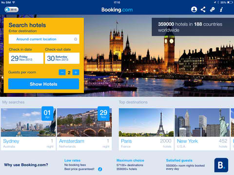 Hotel reservations app checks into new ios 7 for Ideal hotel design booking