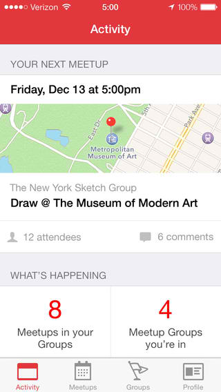Meetup 4.0 Features New iOS 7 Design Including New Activity, Meetups And Groups Tabs