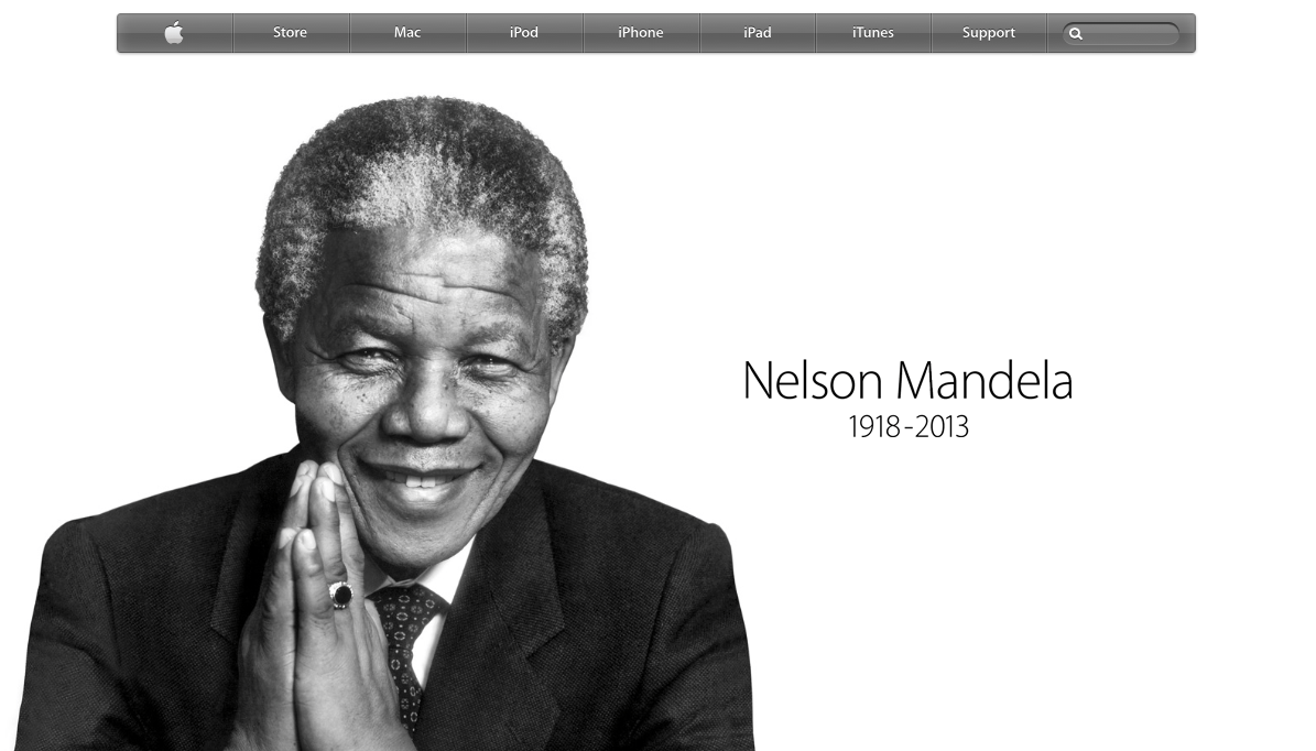 Apple Pays Tribute To Nelson Mandela On Its Homepage