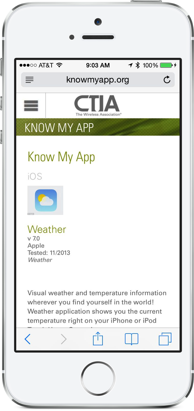 Know My App - As viewed on mobile Safari