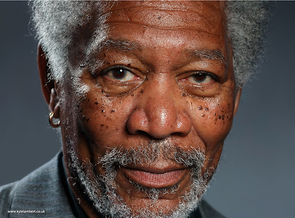 This Photo Realistic Morgan Freeman Painting Was Created Completely On An iPad