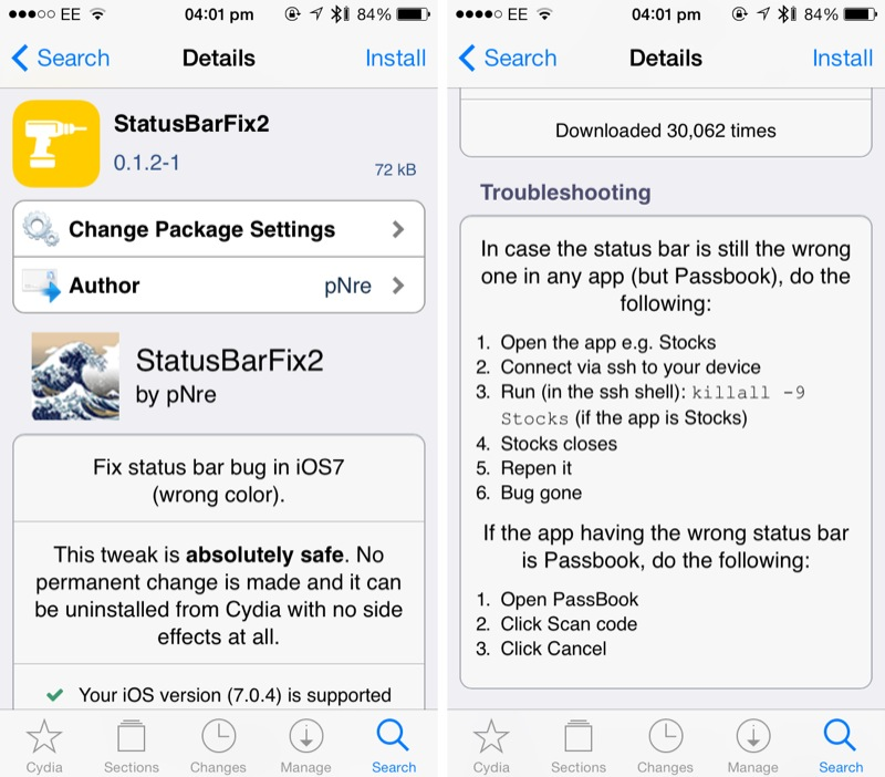 How To Fix The Status Bar On A Jailbroken iOS 7-Powered iDevice