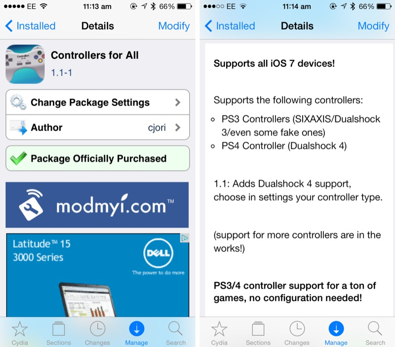 Cydia Tweak: Controllers For All Updated To Add PS4 DualShock 4 Support