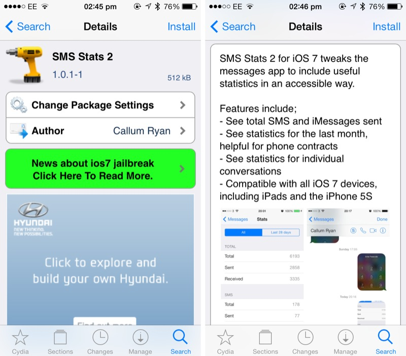 Cydia Tweak: Get Detailed Information On Your Messages App Usage With SMS Stats 2