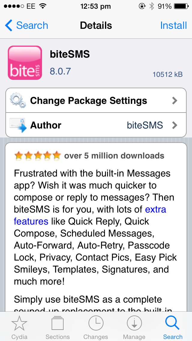 Cydia Tweak: biteSMS Gets Updated For Apple's iPhone 5s