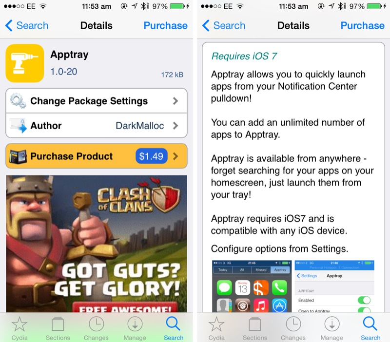Cydia Tweak: Launch Favorite Apps From Notification Center Using Apptray