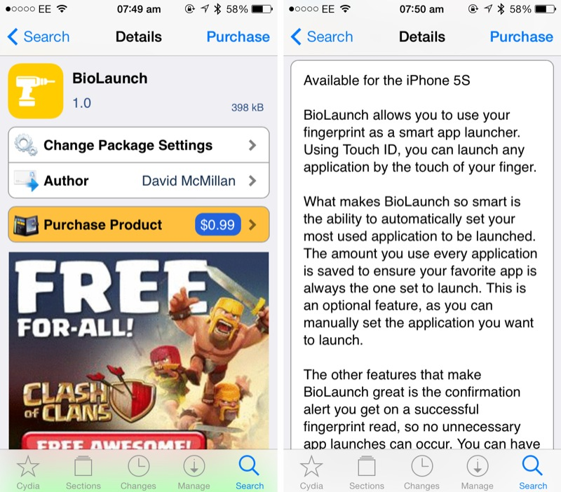 Cydia Tweak: BioLaunch Is A Touch ID App Launcher With A Difference