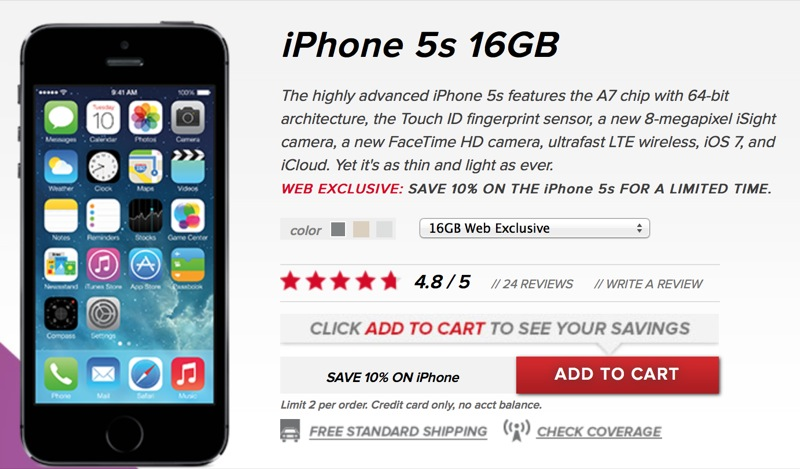 Virgin Mobile Takes Another 10 Percent Off Apple's iPhone 5s, iPhone 5c