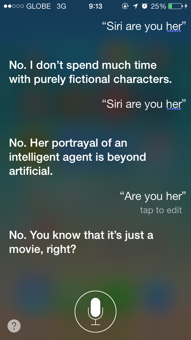Siri Wants Nothing To Do With Scarlett Johansson's Samantha In 'Her'