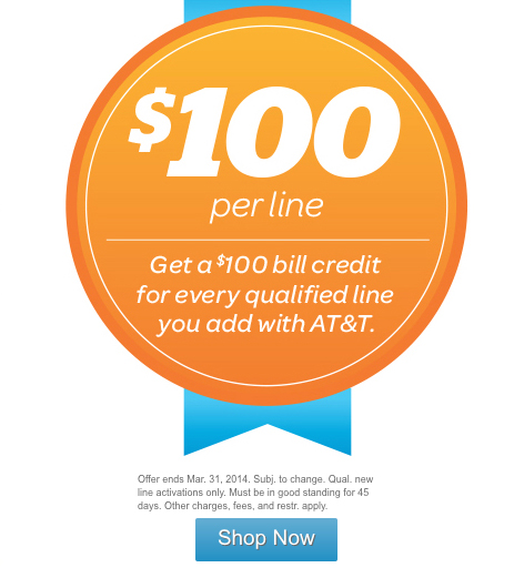 AT&T Is Offering $100 Bill Credit For Customers Who Add A New Line Of Service