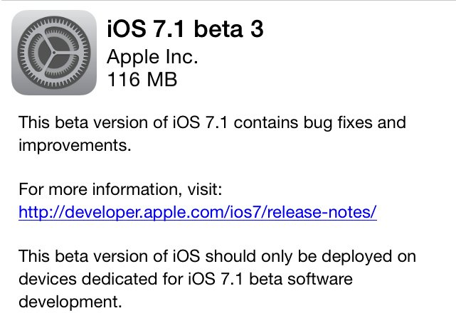 Apple Introduces iOS 7.1 Beta 3 To Developers