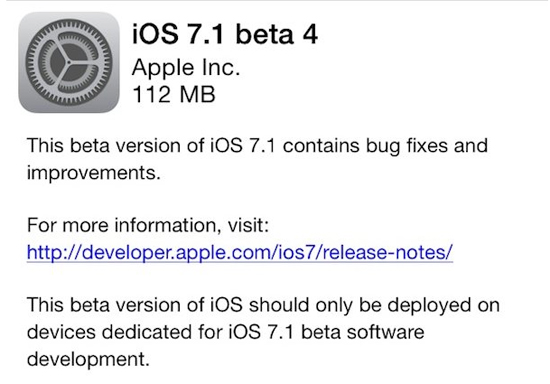 Apple Releases iOS 7.1 Beta 4 To Registered Developers