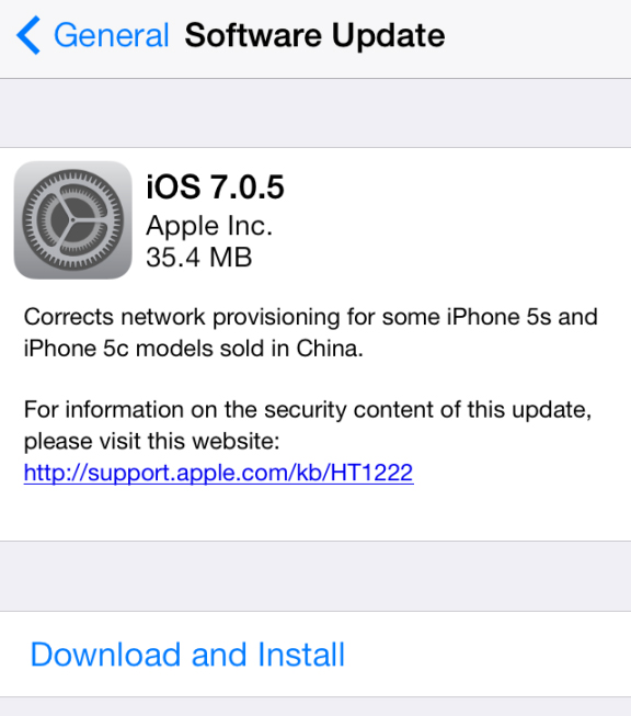 Apple Releases iOS 7.0.5 To The Public