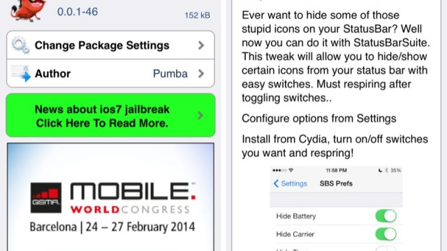 Cydia Tweak: Customize The Appearance Of The iOS Status Bar With StatusBarSuite