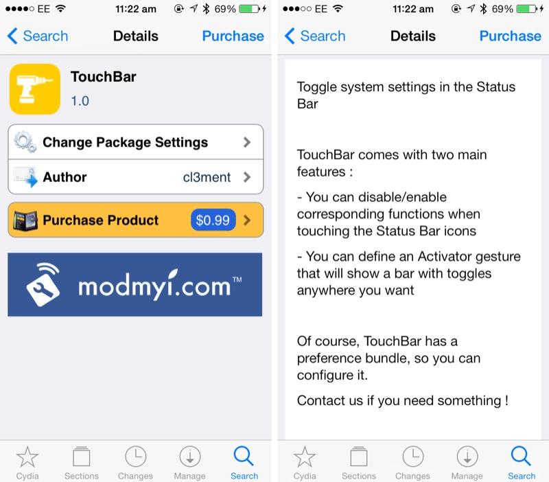 Cydia Tweak: TouchBar Brings iOS System Options To The Status Bar