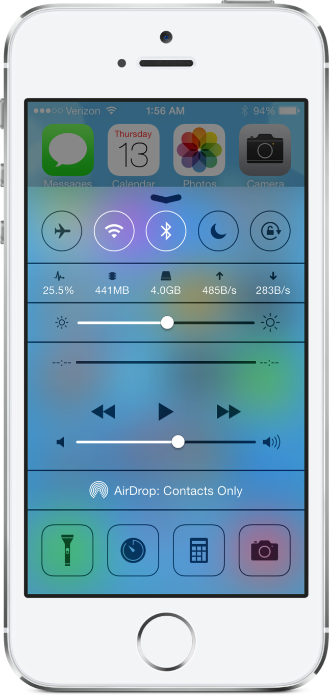 Cydia Tweak: CCMeters Adds Useful System Information To Control Center