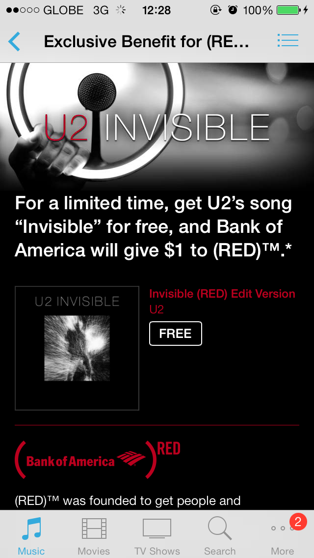 U2's 'Invisible' Free iTunes Download Offer Raises Over $3 Million From Bank Of America