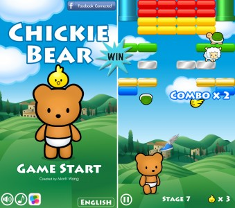 Win Stars To Help Two Critters Break Bricks In Chickie Bear