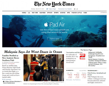 The New York Times Runs An Underwater iPad Air Ad At The Wrong Time