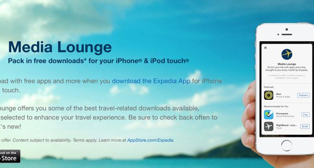 Expedia For iOS Is Now Offering Users Free Apps As Part Of Its 'Media Lounge'