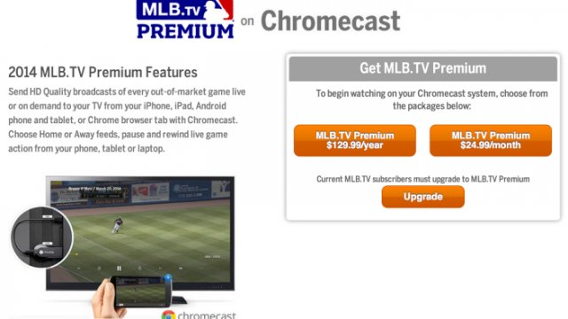 MLB.TV Premium Customers Can Now Stream Games Using Google's Chromecast