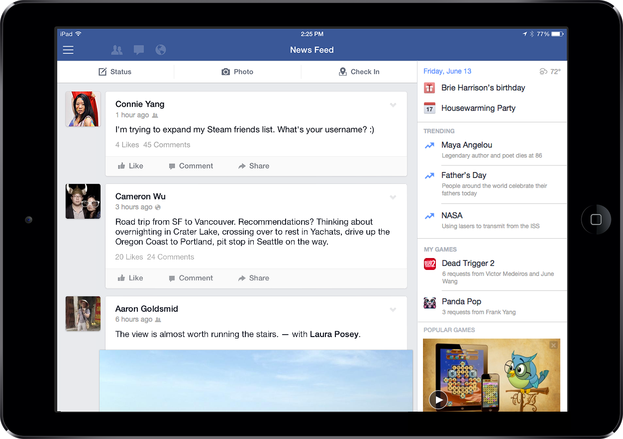 Trending Videos And Game Discovery Tools Show Up On Facebook's iPad App