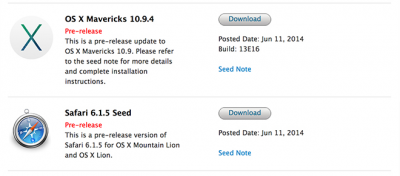 Apple Releases A Bunch Of Betas: OS X 10.9.4, OS X Server 3.2, Safari 6.1.5