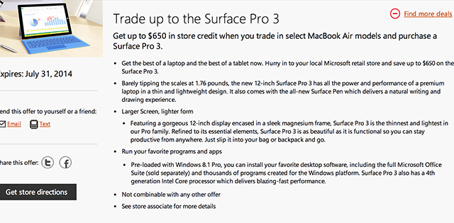 Microsoft's New Surface Pro 3 Trade-In Scheme Targets MacBook Air Owners