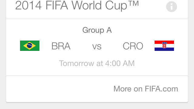 Google Search For iOS Updated With New Google Now Cards For 2014 World Cup