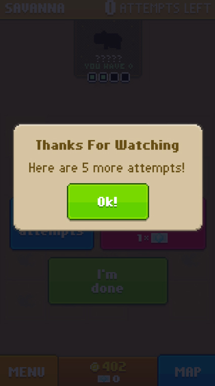 An example of an app that gives incentives to watch video ads for other titles.