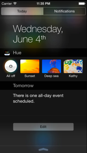 Philips Posts Concept Of A Hue Notification Center Widget In iOS 8