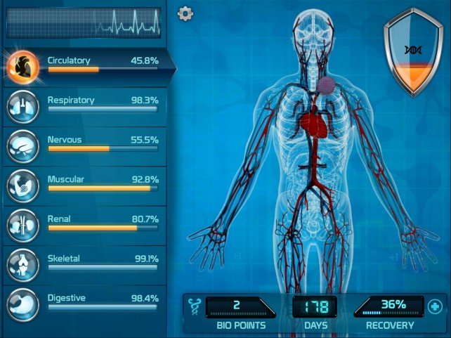 Shut down a person's body with disease in biomedical simulator Bio Inc