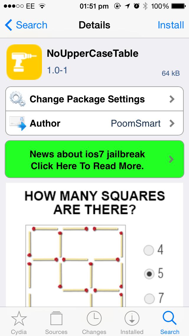 Cydia tweak: Enhance Settings app headings with NoUpperCaseTable
