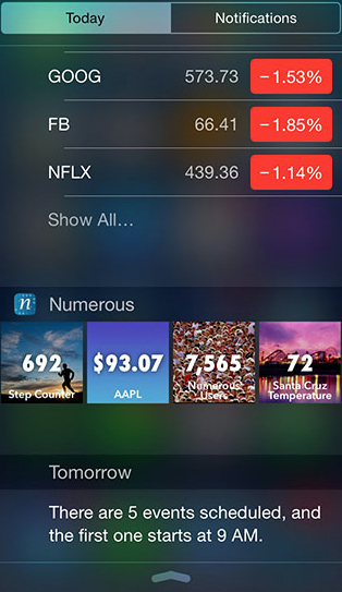 Numerous app developer previews their Notification Center widget for iOS 8
