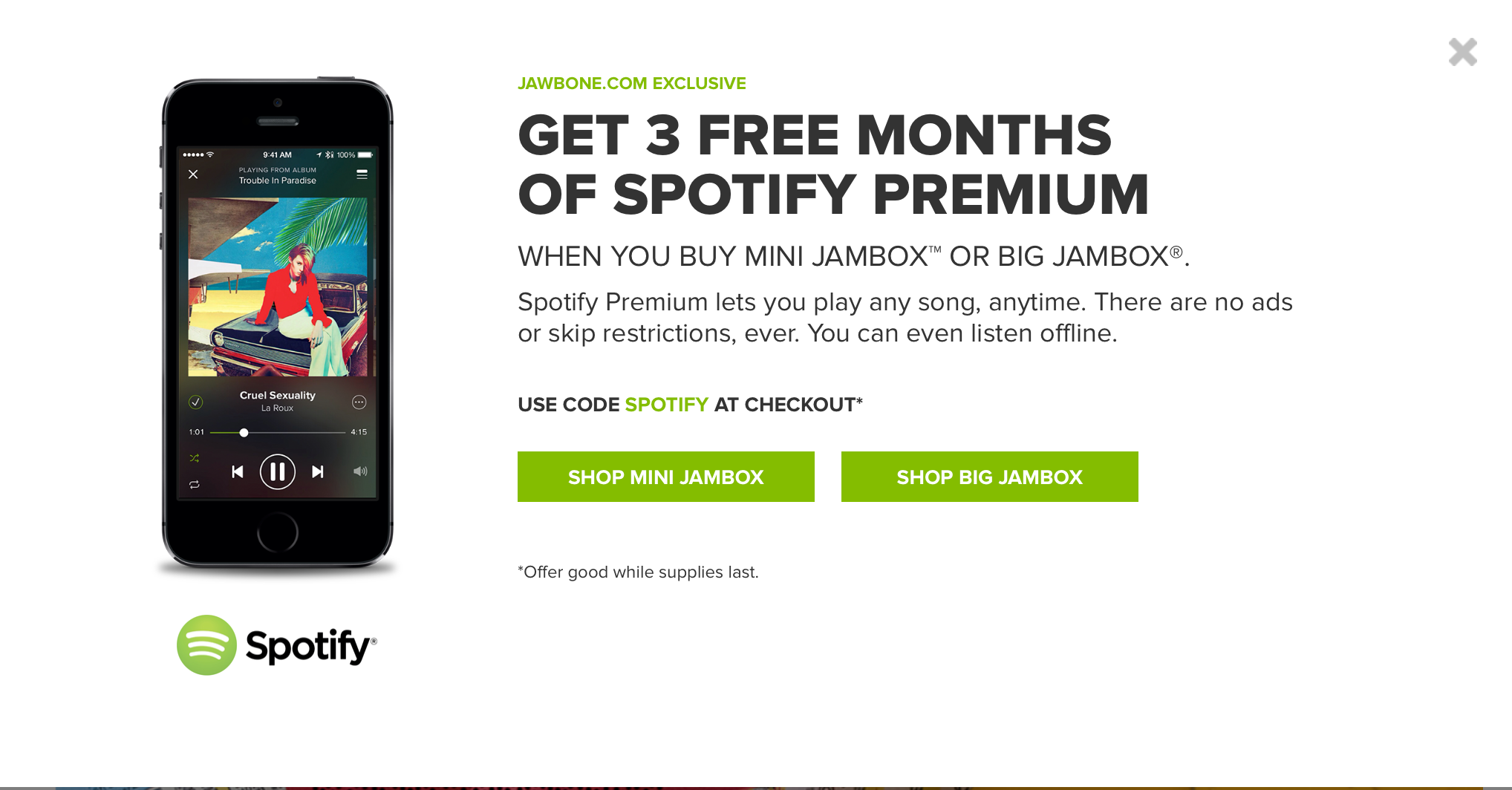 Jawbone and Spotify team up for a limited time promotion