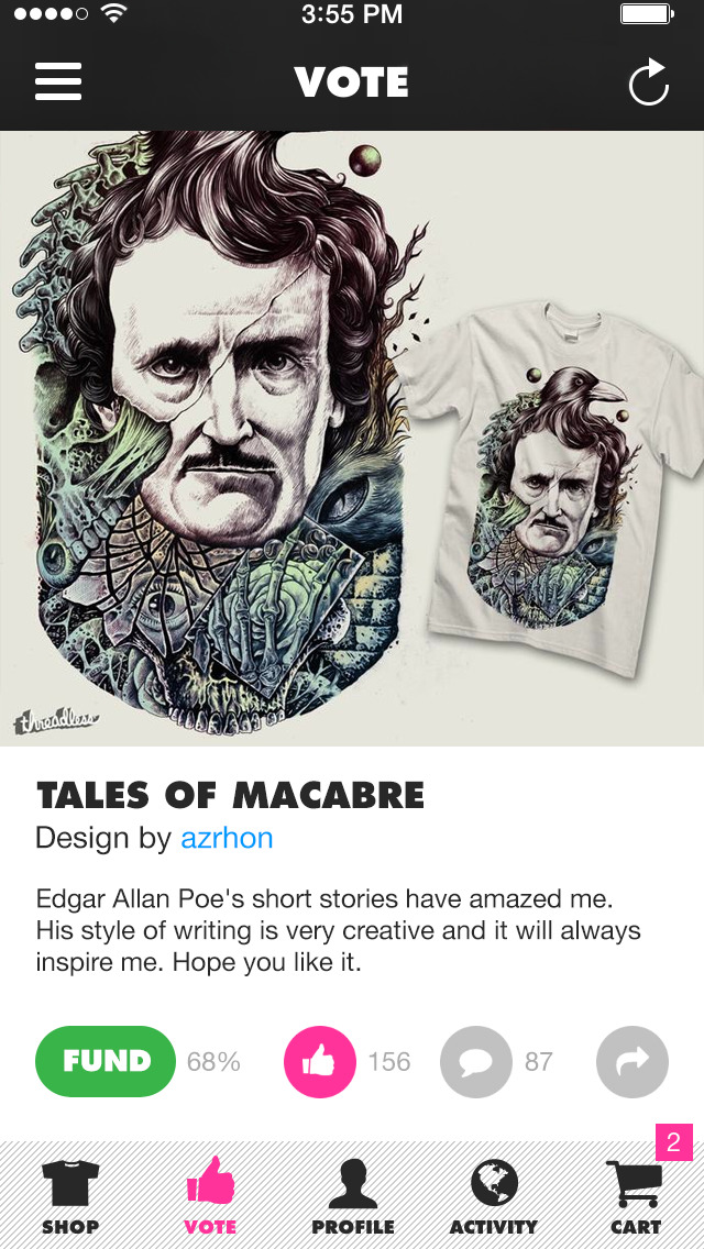 Threadless now lets you fund your favorite designs to have them printed on T-shirts