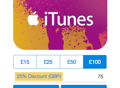 PayPal offering iTunes gift cards at 25 percent off in the UK