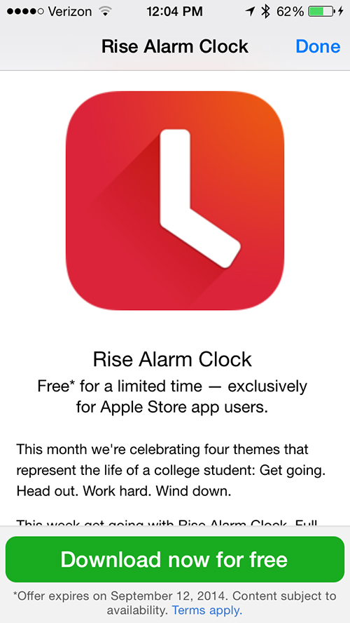 Rise Alarm Clock is now free to download via the Apple Store app