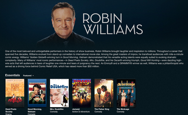 Apple remembers comic genius Robin Williams with a special iTunes section