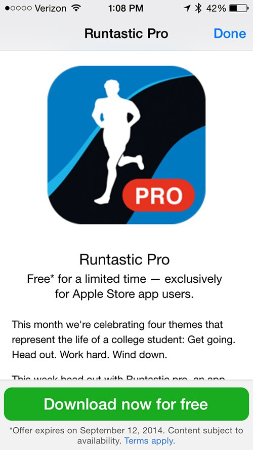 Grab Runtastic Pro for free now via the Apple Store app