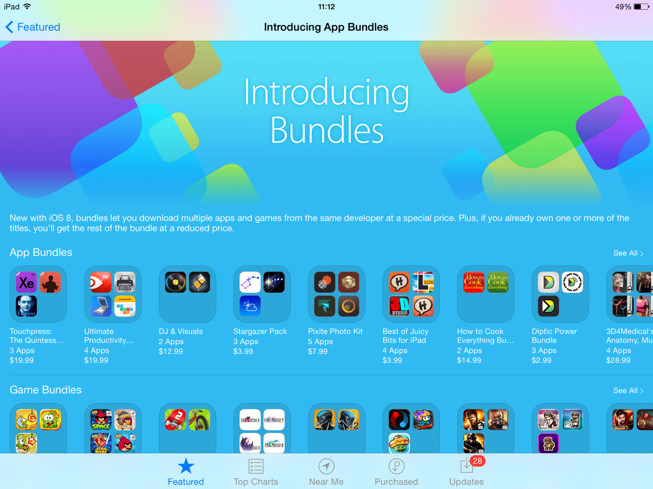 Following iOS 8's launch, Apple introduces app and game bundles on the App Store